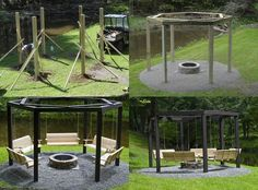 DIY Backyard Fire Pit with Swing Seats 2