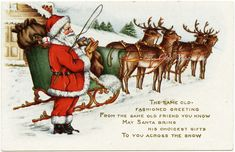 This vintage Christmas postcard features a fun illustration of Santa preparing to deliver toys on Christmas Eve. He is dressed in his red and white suit, black boots and is putting on his brown driving gloves. His sleigh is packed with bags of toys and hitched up to four of his