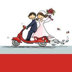 DE Italiaanse scooter, op de Vespa naar je trouwfeest