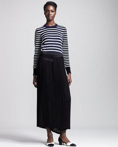 Long Pleated Georgette Skirt by Junya Watanabe at Neiman Marcus.