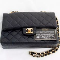 Chanel vintage small bag Vintage chanel black navy small double flap bag gold chain GHW Woc. CHANEL Bags Shoulder Bags