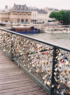 Locks of love in Paris.. You are supposed to put a lock with you and your gf/bf or husband/wife names on the fence and then throw the key in the river