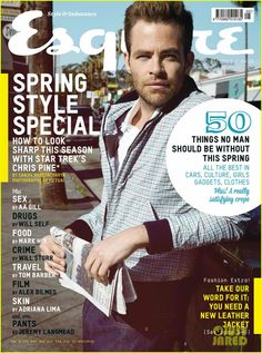 Chris Pine Covers 'Esquire UK' May Photo Chris Pine is cool and collected on the cover of Esquire UK's May 2013 issue, on newsstands Thursday (April Here's what the Star Trek Into Darkness… Shia Labeouf, Logan Lerman, Amanda Seyfried, Chris Pino, Eden Star, Star Trek Chris Pine, Esquire Uk, Crime Film, Star Wars
