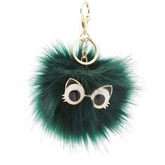 Charlotte Russe Cat Eyes Faux Fur Ball Keychain ($5) ❤ liked on Polyvore featuring accessories, green, fob key chain and charlotte russe