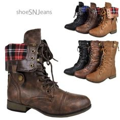 Womens-Lace-Up-Military-Army-Combat-Riding-Fold-Over-Plaid-Boots-Shoes-Forever