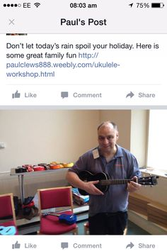 Don't let today's rain spoil your holiday. Here is some great family fun http://paulclews888.weebly.com/ukulele-workshop.html #Ilfracombe #Woolacombe #CombeMartin #Exmoor #Braunton #Croyde #Barnstaple #Torrington #Bideford #WestwardHo #SouthMolton #NorthDevon #Devon #NDevon #Bude #Cornwall #Somerset #Minehead #Lynton #Lynmouth #Uke #Ukulele #Workshop