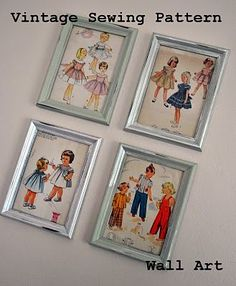 Vintage Sewing Pattern Wall Art  -- my Mom would love this as a surprise for her sewing room - she made me lots of dresses as a child, would make her smile :)