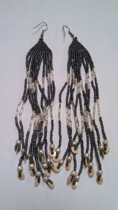 Long Micro Beaded Pierced Earrings E376 by 5DollarMaddness on Etsy