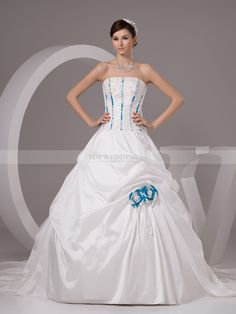 Two Tone Strapless Taffeta Ball Gown with Applique and Pick Ups