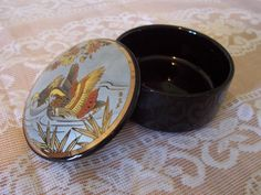 Vintage Ring Jewelry Dish Trinket Box Ceramic Porcelain Japan Gilded Gold Birds Ducks Black Wedding Ring Bearer Box Pillow Alternative by MooseRiverGifts on Etsy