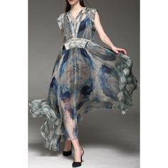Maxi Print Sheer Swing Silk Dress - FLORAL L