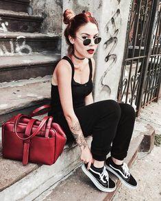 Shades, Choker necklace, black top, pants & Vans shoes by luanna (Boho Top Bun) Grunge Look, 90s Grunge, Grunge Style, Estilo Grunge, Grunge Fashion, 90s Fashion, Soft Grunge Outfits, Grunge Shoes, Fashion Rings