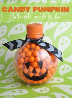 Orange Candy Pumpkin upcycled from water bottle