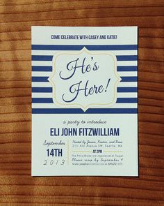 He's Here! Baby Shower Meet-and-Greet Invitation by Songbird Paperie, $2.95