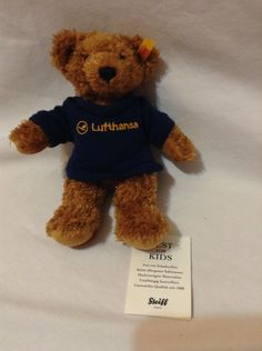 STEIFF LUFTHANSA stuffed plush Brown Mohair teddy bear 4