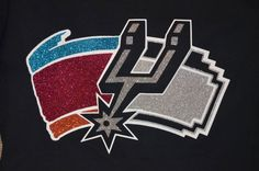 San Antonio Spurs-Glitter T shirt- vintage and silver and black logo by TinasCustomTees on Etsy