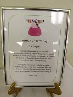 Description of dol at 1st birthday