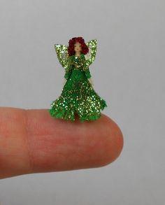 Handmade Tiny Micro Miniature Green Fairy Doll's Doll Artisan OOAK