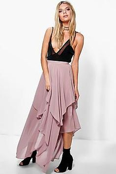 Indie Ruffle Hem High Low Chiffon Maxi Skirt