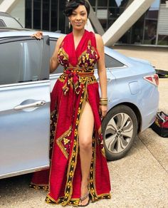 Gorgeous African print Maxi Dress with high slit. Ankara Summer Dress Gorgeous African print Maxi Dress with high slit. African Fashion Designers, African Print Fashion, Africa Fashion, African Attire, African Wear, African Dress, African Style, African Prom Dresses, African Fashion Dresses