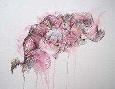 Original zeitgenössische Tinte & Bleichmittel Malerei, abstrakte Blumenkunst, leichte rosa Tinte abstrakte Malerei, Wohnkultur Kunst Aquarell Kunst,
