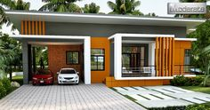 This medium-sized modern house single storey house a s total usable area of approximately 163 square meters. It has 3 bedrooms distributed on the top right side of the plan, where 2 bedrooms on the side [. Modern Bungalow House, Bungalow House Plans, Modern Tiny House, House Outside Design, Small House Design, Modern House Design, Single Storey House Plans, One Storey House, One Floor House Plans