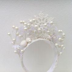 Winter Snow Queen Headband / White Snowflakes Pearl White Berries Winter Bride Wedding Fashion...Love it....!!!