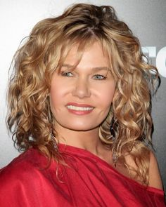 mid length hairstyles curly with bangs - Google Search