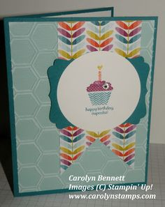 Carolyn's Paper Fantasies: Sale-a-bration is HERE! Stampin Up Carolyn Bennett patterned occasions happy birthday cupcake Sycamore Street DSP