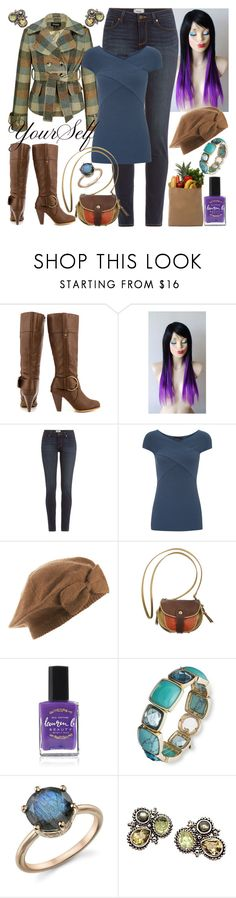 """Just Be Yourself"" by dev-lynn ❤ liked on Polyvore featuring JustFab, Paige Denim, Donna Karan, Jérôme Dreyfuss, Tag, Lauren B. Beauty, Anne Klein, Irene Neuwirth and Stephen Yearick"