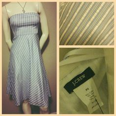 """J. Crew Striped Cotton Dress Cute strapless J. Crew sundress. This dress is white with blue stripes. This a gently used dress in excellent condition. 36"""" long from top to bottom. J. Crew Dresses Strapless"""