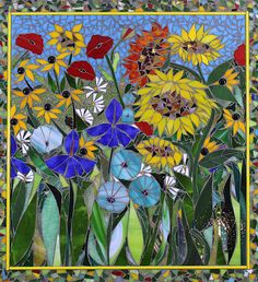 Sunflowers and daisies Mosaic Projects, Stained Glass Projects, Stained Glass Patterns, Mosaic Patterns, Mosaic Tile Art, Mosaic Glass, Glass Art, Mosaic Birdbath, Mosaic Garden