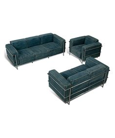 Another great find on #zulily! The Williamsburg Denim Sofa Set by Sarreid Ltd. #zulilyfinds ($2,600) for 3-piece set