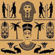 elements of the Egyptian decorative patterns, heads of Nefertiti and masks of pharaoh on a beige background Egyptian Mythology, Egyptian Symbols, Ancient Egyptian Art, Egyptian Drawings, Kopf Tattoo, Egyptian Party, African Symbols, African Tattoo, Egypt Art