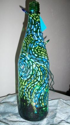 A Starry Night Hand Painted Bottle Lamp by Fyrewerks on Etsy, $20.00