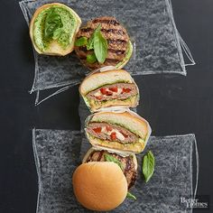 Add a taste of Italy to your barbecue with these balsamic-tinged beef burgers. With a mozzarella and red pepper filling and a pesto mayo, this is one flavorful yet fuss-free sandwich recipe you'll return to again and again.
