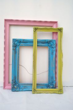Ornate frame collction pink,lime green, and baby blue shabby chic unique wall gallery nursery playroom or little girls room. $50.00, via Etsy.