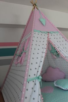 Tent for children TIPI-TEEPEE-setwhite | Etsy Baby Bedroom, Girls Bedroom, Little Girl Birthday, Little Girls, Indoor Tents, Kids Teepee Tent, Child Love, Diy For Kids, Toddler Bed