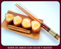 Sushi de arroz con leche y Mango (con video-receta)