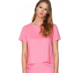 Top Alicia - Pepaloves - Blusa de manga corta y cuello redondo. Apertura en toda la espalda unida por tres cintas. Color rosa
