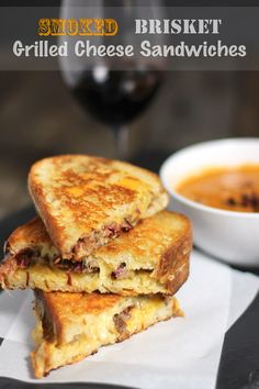 The perfect use for leftover brisket. Smoked Brisket Grilled Cheese Sandwich. Pair it with Smoked Tomato Bisque and some red wine and you have the perfect fall meal!  From vindulgeblog.com
