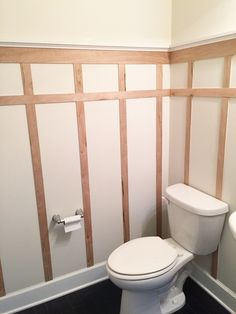 Affordable Board & Batten DIY - Bower PowerYou are the best. Thank you for all of your sweet responses to my bathroom mail. always a little underwhelming to Budget Bathroom Remodel, Bathroom Renovations, Home Remodeling, Bathroom Ideas, Restroom Remodel, Bathroom Furniture, Half Bathroom Decor, Small Bathroom Redo, Cheap Bathroom Makeover