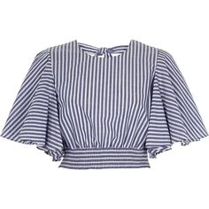 River Island Blue stripe print frill sleeve crop top (210 SAR) ❤ liked on Polyvore featuring tops, blue, crop tops / bralets, women, striped crop top, flutter sleeve top, bralet crop top, cropped tops and tie crop top