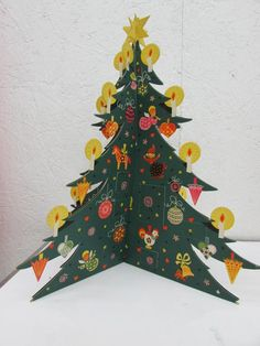 Vintage Christmas Tree Advent Calendar From Denmark IOP I.