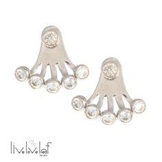 Silver 5 stone ear jacket earrings sterling silver by LiveLoveLeaf