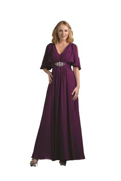 Modest Elegant Long Eggplant Mother of the Bride Dress Formal