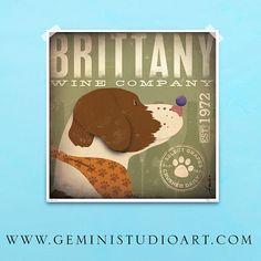 Brittany Spaniel Winery original illustration by geministudio, $39.00