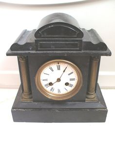 Marble Mantle Clock Case & French Striking Movement For Spares/Repair 11 H 10 W