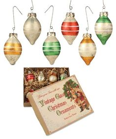 Vintage Teardrop Striped Ornaments from The Holiday Barn