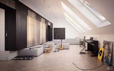 Luminosità e calore sono il segreto che rende unico un attico adibito a zona musica
